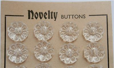 1930s Vintage 24 Clear Buttons On A Card Dead Stock