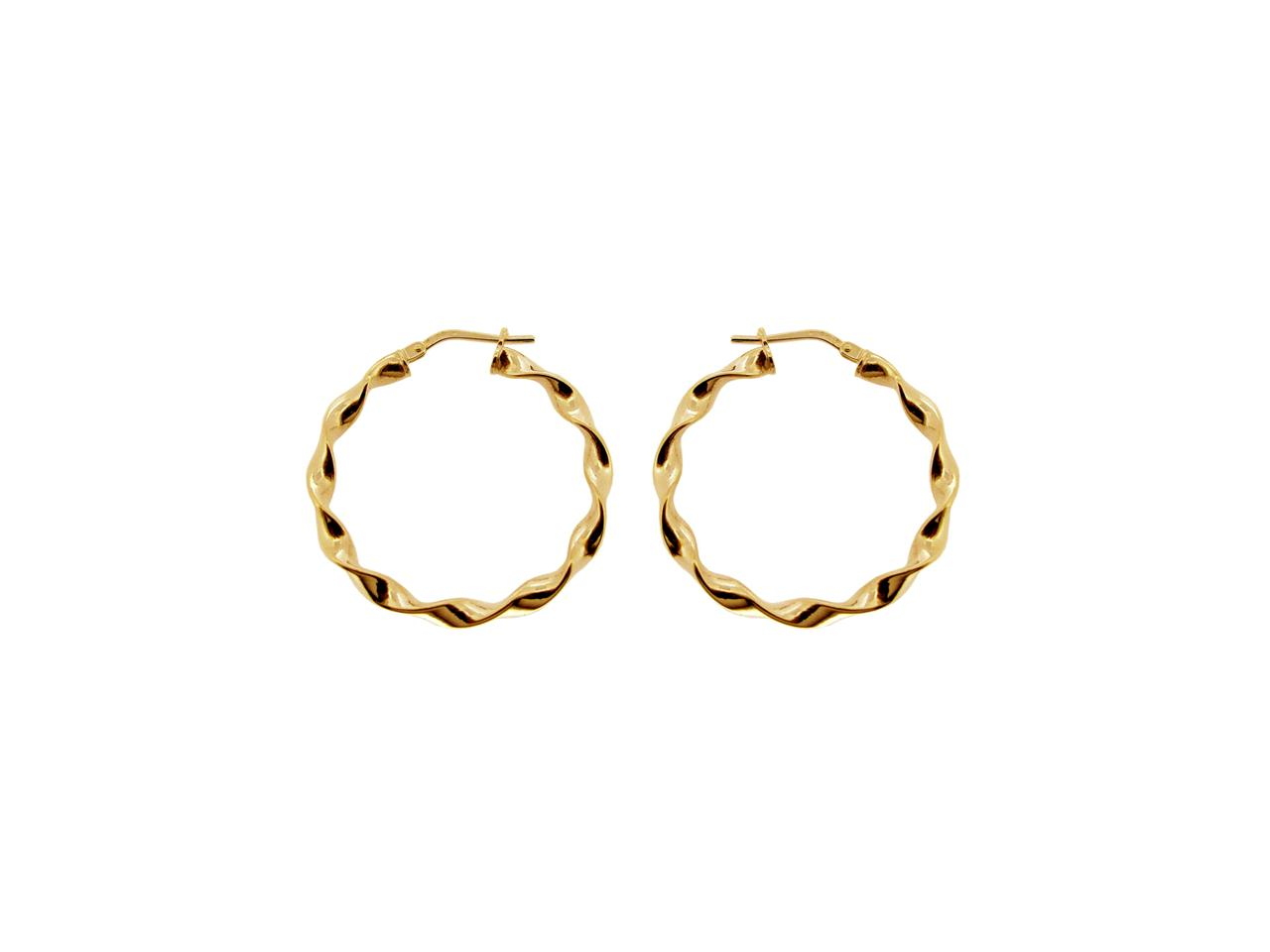 375 9ct Solid Yellow Gold Round Creole Twist Tube Hoop