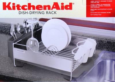 kitchenaid dish drying rack 3 piece black dish drainer new ebay. Black Bedroom Furniture Sets. Home Design Ideas