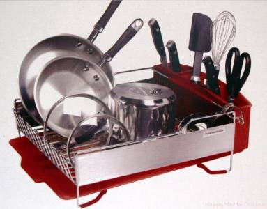 Kitchenaid 3 Piece Dish Drying Rack Red Drainer Tray Cup