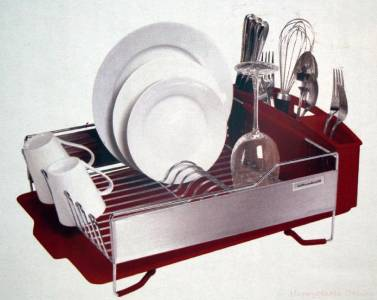 kitchenaid 3 piece dish drying rack red drainer tray cup holder new ebay. Black Bedroom Furniture Sets. Home Design Ideas