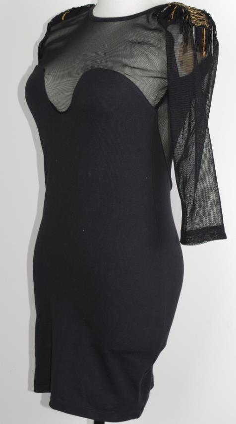 Motel Black BodyCon Tassel Chain Epaulette Power Shoulder General Military Dress