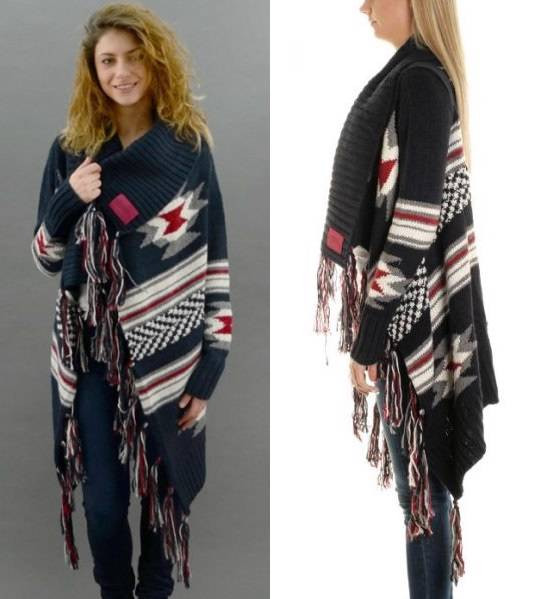 Cardigan Superdry Knitted Draped eBay Tassel Poncho Waterfall Aztec Navajo Navy Wool qYxqrZO