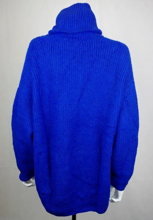 ZARA WOOL BLEND BLUE OVERSIZED ROLL NECK TURTLENECK SWEATER KNITTED JUMPER DRESS
