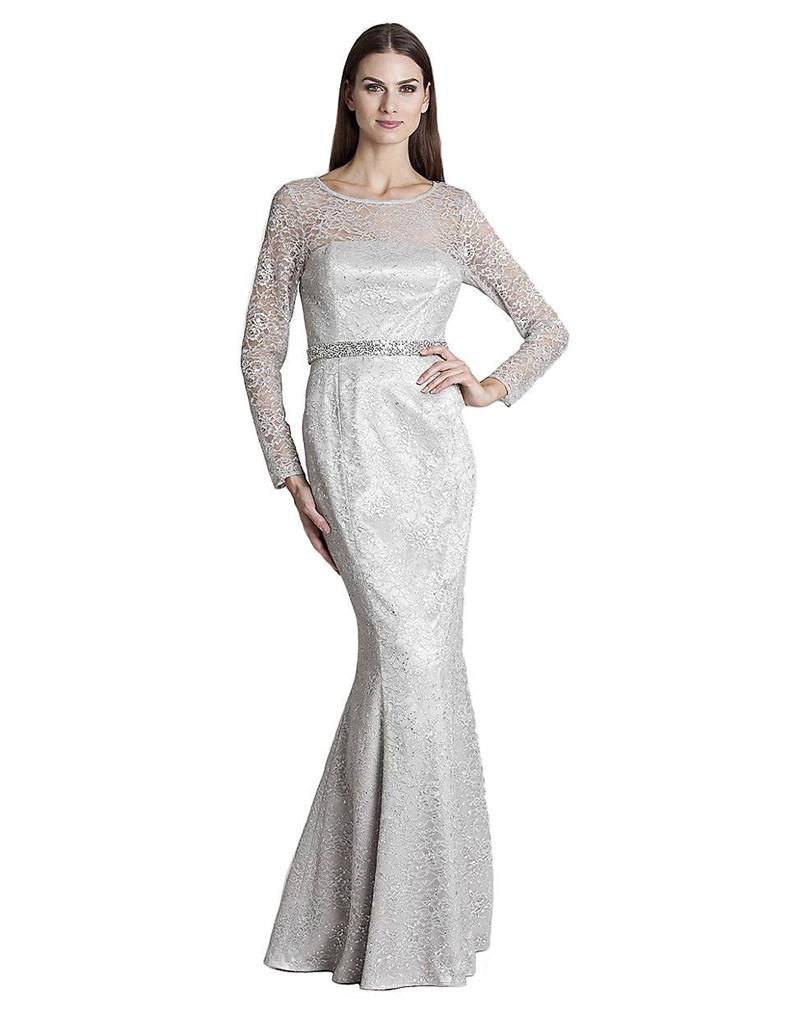 JS Collections Lace Overlay Mermaid Gown Dress SILVER SIZE 2 #213 ...
