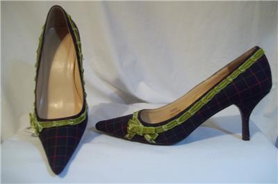d63416add J.CREW Blue Windowpane Plaid Green Velvet Trim Detail 70355 Pumps Shoes 10