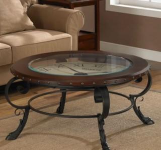 round clock accent coffee table glass top unique ebay. Black Bedroom Furniture Sets. Home Design Ideas