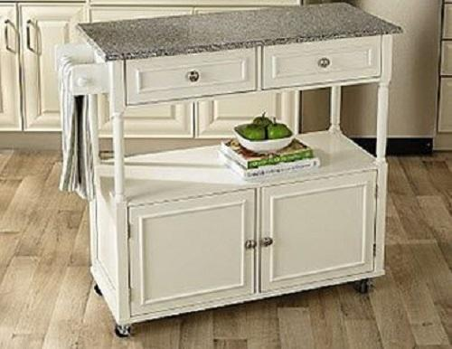 NEW Kitchen Island Wood Cart Rolling Granite Top
