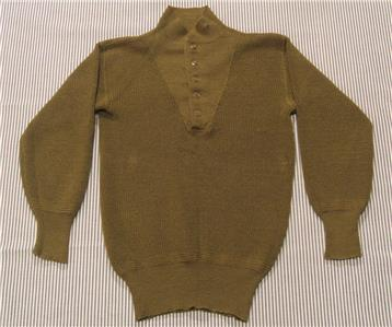 unissued USGI military brown 5 button wool sweater size large