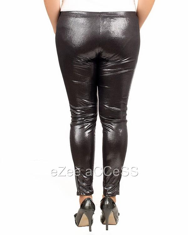 Sexy Womens Plus Size Leggings Tights Pants Wet Look