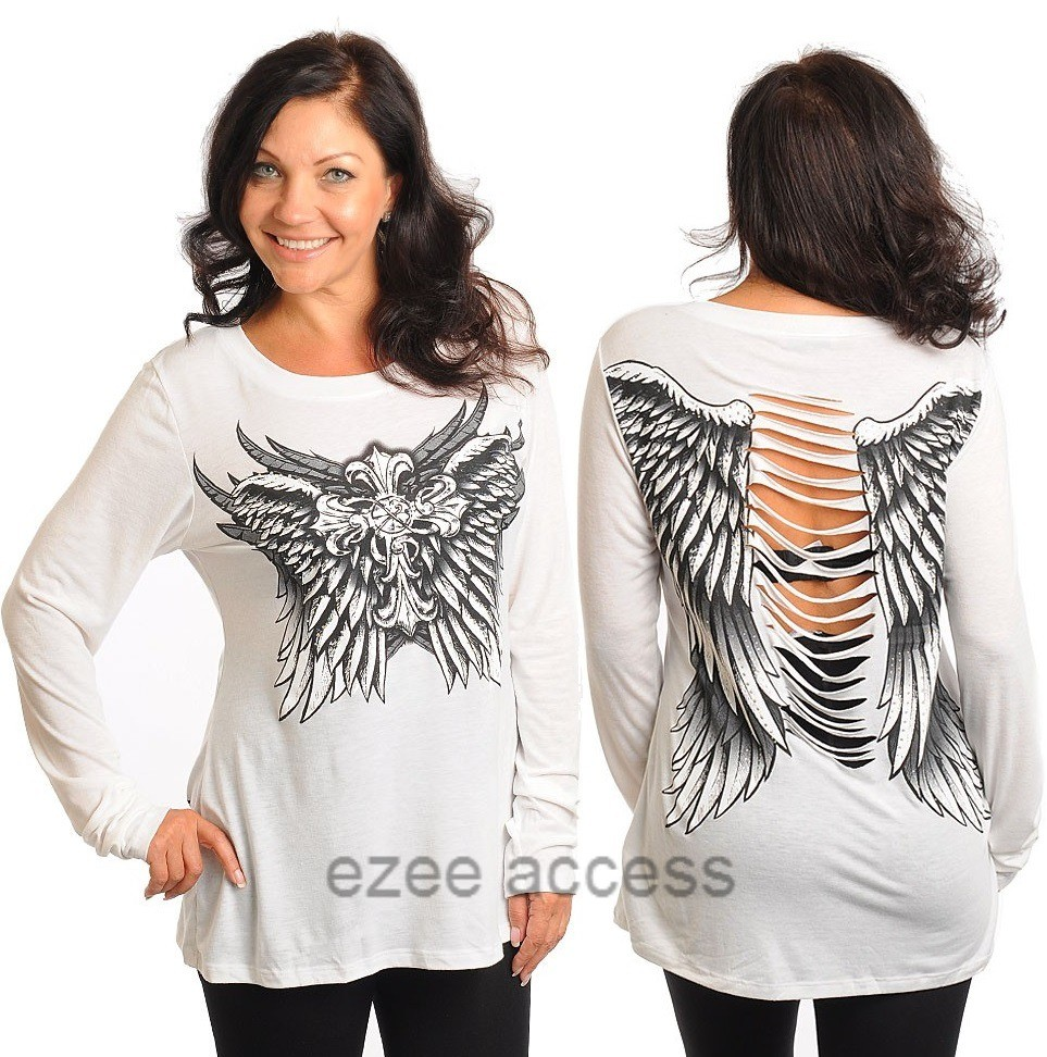 Womens Plus Size Top TSHiRT Long Sleeve Cross Wing Tattoo