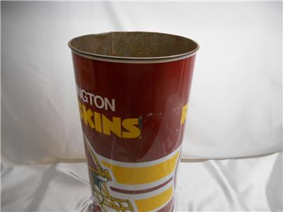 old 1991 washington redskins metal waste basket nfl
