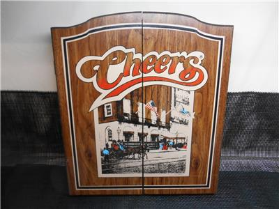 Old Vtg P P C Cheers Wood Dart Board Cabinet Wall Mount