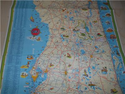 Florida Travel Guide Map.1950 Gulf Oil Co Florida Tour Guide Folding Vacation Road Map