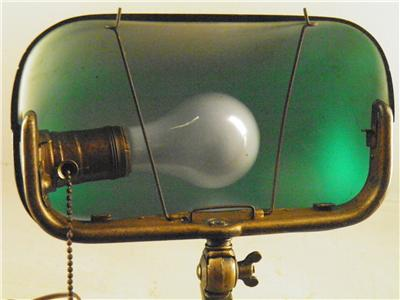 antique emeralite deco brass bankers table desk lamp green shade original label ebay. Black Bedroom Furniture Sets. Home Design Ideas