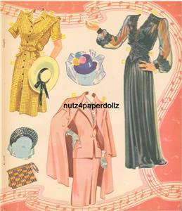 VINTGE 1948 BELLE OF BALL PAPER DOLL ~PRETTY HD LASER REPRODUCTION~ORIG SZ UNCUT