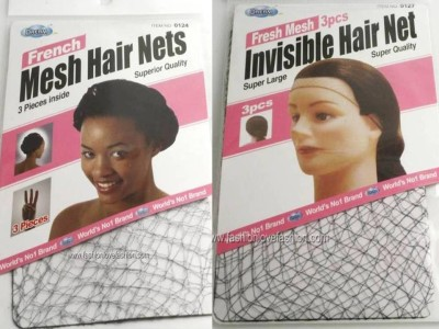 3 PIECES THIN FRENCH MESH INVISIBLE HAIR NETS FISH COOKING CAP SNOODS