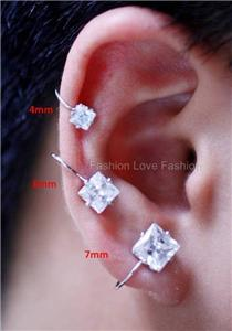 6mm earrings actual size clear cz magnetic clip on stud earrings for mens 3656