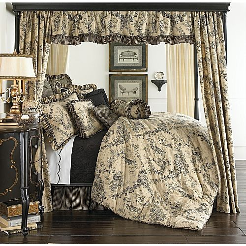 15p Queen Enchanted Toile Tan Black Comforter Set Euros