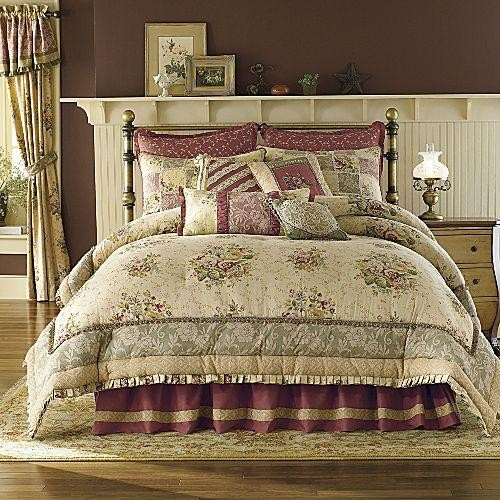 8p King Antique Rose Comforter Set Tan Burgundy Rose Nu Ebay
