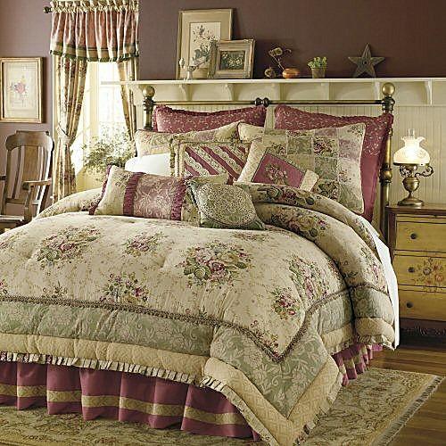 8p KING Antique Rose Comforter Set~Tan~Burgundy Rose~NU | eBay