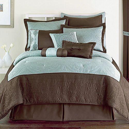 10p Queen Blue Brown Classic Comforter Set Pretty New Ebay