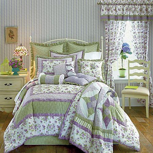 9p Queen Comforter Quilt Set Lilac Lavender Sage Green 3