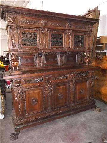 Massive Antique Carved Figural Walnut Dining Room Set