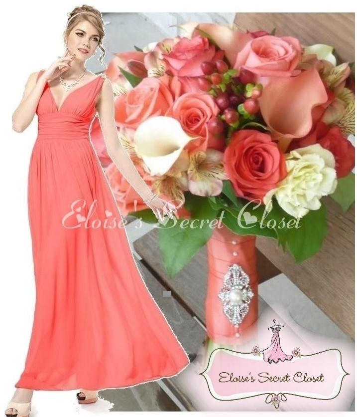 Maxi Ancient Greek Style Dress With Deep Neckline And: BNWT GRECIAN Coral Jewel Chiffon Maxi Prom Evening