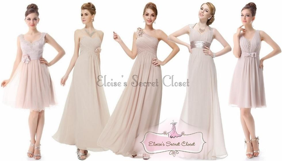 Beige Chiffon Bridesmaid Dress 2017: BNWT EDEN Mink Latte Beige Chiffon Corsage Prom Evening