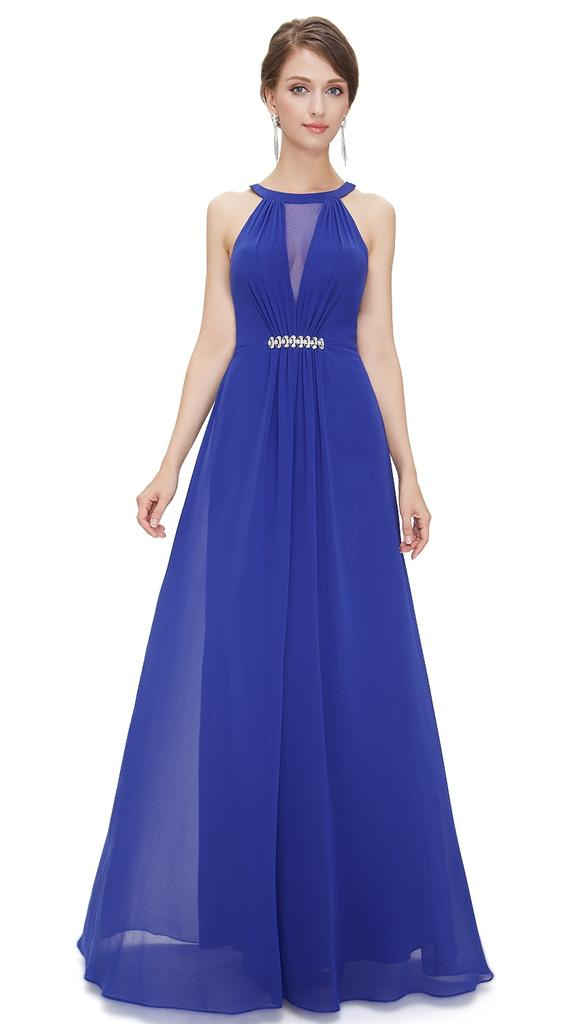 BNWT ORLA Royal Cobalt Blue Chiffon Maxi Prom Evening ...