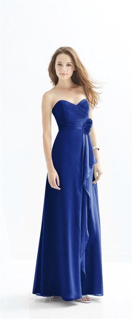 faith sapphire blue corsage strapless chiffon bridesmaid