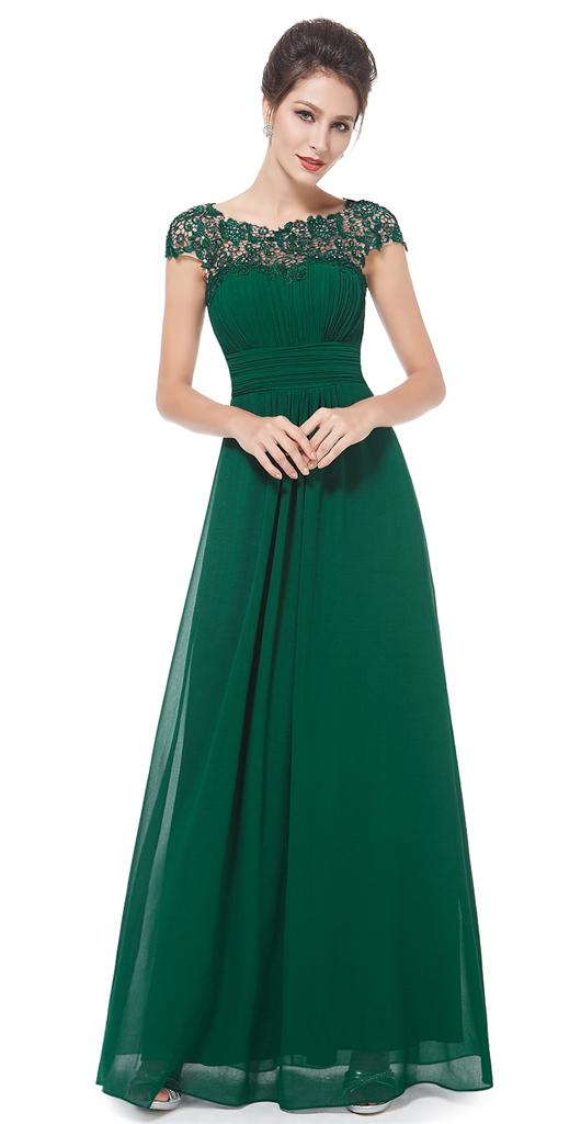 KATIE Emerald Green Lace Full Length Prom Evening Cruise ...