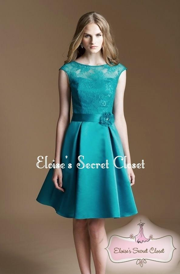 CASSIE Teal Lace Bridesmaid Knee Length Prom Evening Dress ...