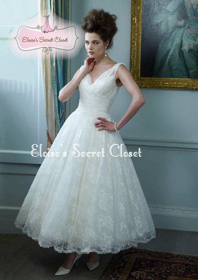 vintage inspired tea length wedding dresses | Wedding