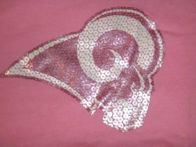 e6c4a0ef6 NWT Reebok St. Louis Rams Women s Sequin Logo T-Shirt - Pink (Large ...