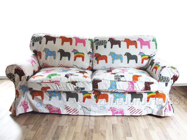 sofabezug ikea ektorp 2er schlafsofa sofabett pferde ebay. Black Bedroom Furniture Sets. Home Design Ideas