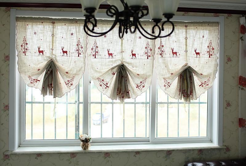 gardinen vorh nge bergardinen scheibengardine 83 b x260 l weihnachten hirsch ebay. Black Bedroom Furniture Sets. Home Design Ideas