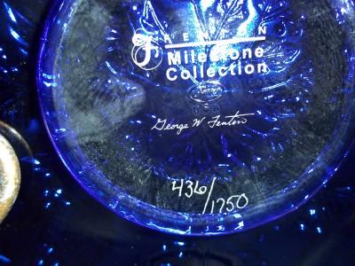 Fenton Glass COBALT BLUE CARNIVAL HOLLY PLATE LTD ED # 436/1750