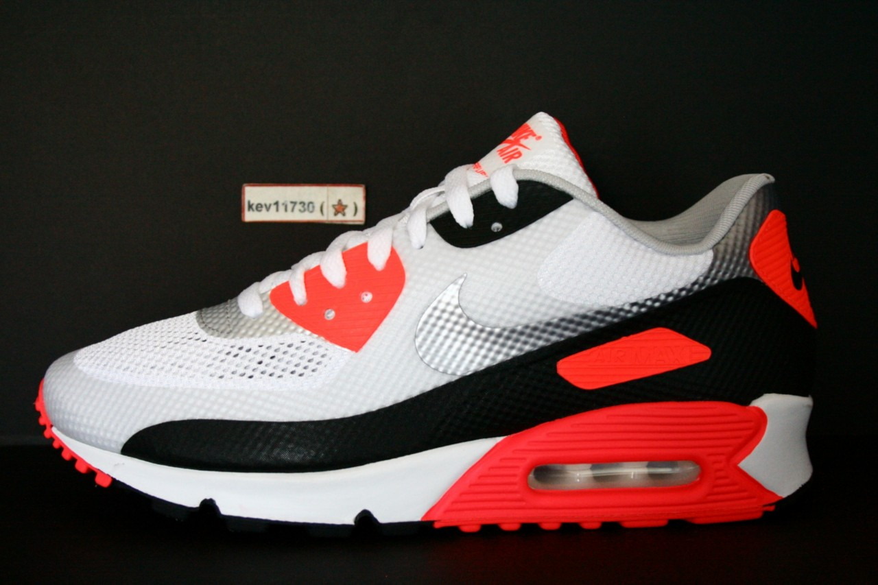 AUTHENTIC Air Max 90 Hyperfuse NRG Infrared White Black Red #548747 106 Men sz | eBay