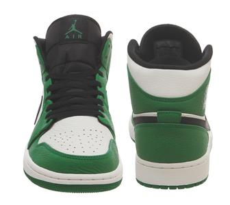Nike Air Jordan 1 Mid Pine Green Black White Leather Mens Trainers 852542 301
