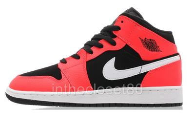 newest 76cb8 e2390 Nike Air Jordan 1 Mid GS BG Black Infra Red 23 White Juniors Trainers  554725 061
