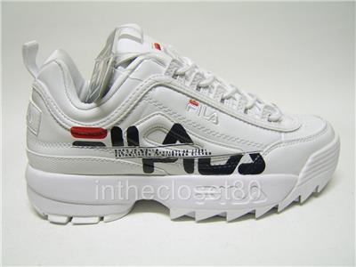 0f4880ea Details about Fila Disruptor II Print GS White Navy Red Chunky Juniors  Girls 3FM00599-125