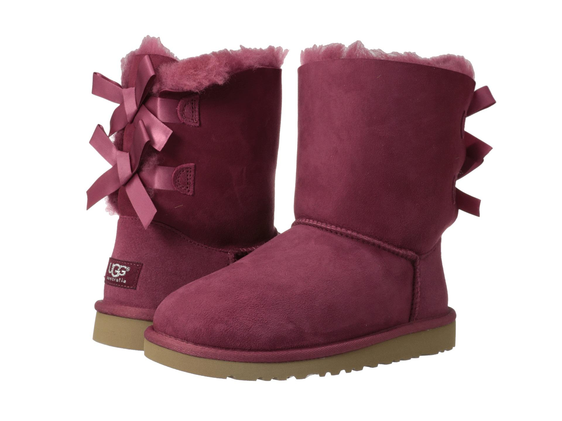 26ef5513958f UGG AUSTRALIA KIDS YOUTH GIRLS BAILEY BOW BOOTS RED PLUM SIZE 5 Y ...