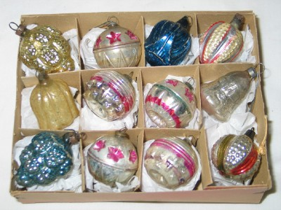 very old box of tiny mercury glass feather tree ornaments
