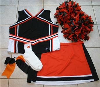 Orange Black Cheerleader Costume Outfit Halloween 16 18 Pom Poms