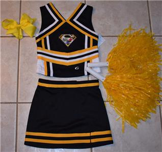 029c85d59 STEELERS CHEERLEADER COSTUME OUTFIT HALLOWEEN 4 5 POM POMS BOW SET ...