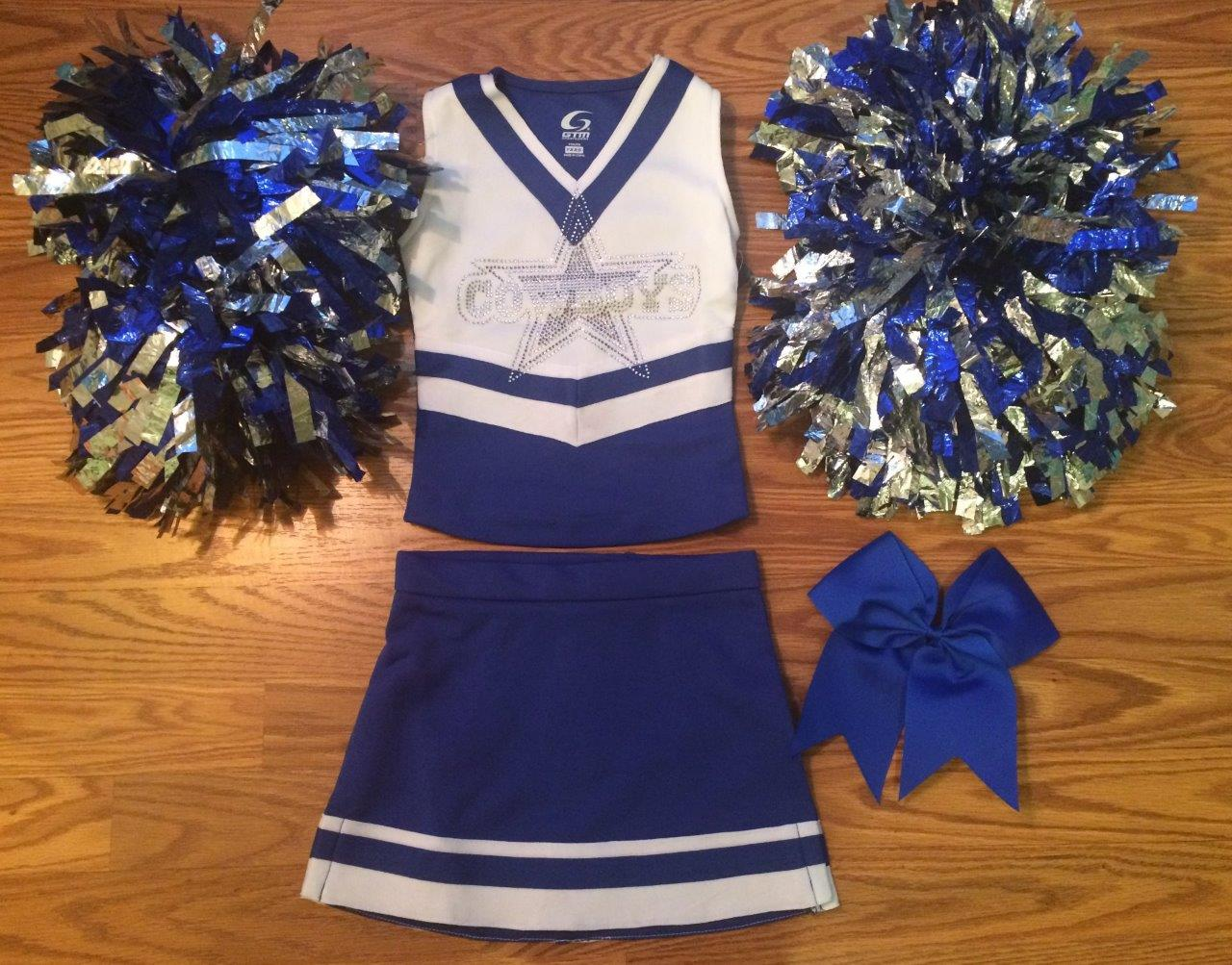 9c159c368 DALLAS COWBOYS CHEERLEADER COSTUME OUTFIT CHEER SET DELUXE POM POMS BOW 2-3T