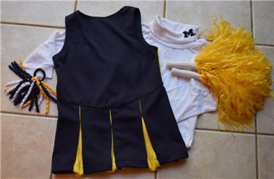 CHEERLEADER OUTFIT HALLOWEEN COSTUME MICHIGAN POM POMS CHEER SET 5 6 HAIR  BOW 25bc5cd12