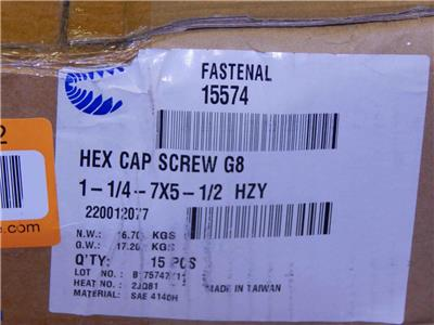 Heavy Equipment #328 Box Of 15 Fastenal Hex Cap Screw G8 Hcs 1-¼-7 X 5.5 // 1-¼-7 X 5-½ Pn 15574